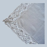 Narrow Tablecloth Linen Bobbin Lace Vintage  65.5 x 44 Inches