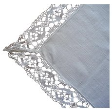 Linen Bobbin Lace Trim Tablecloth Vintage Narrow 65.5 x 44 Inches