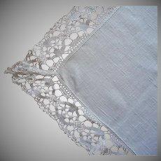 Linen Bobbin Lace Trim Tablecloth Vintage Narrow 65.5 x 44 Inches