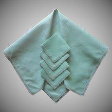 Tatted Lace Green Linen Tea Tablecloth Napkins Set Vintage 1920s