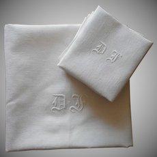 Antique French Monogram Tablecloth 9 Big Napkins Set Linen