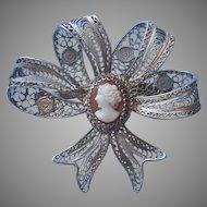 Filigree Cameo Vintage Italian 800 Ribbon Silver Bow Pin