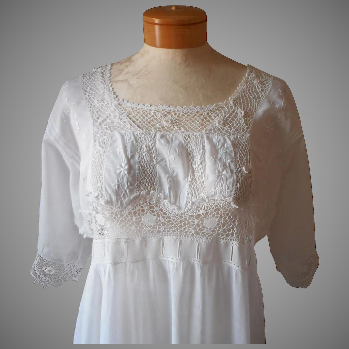 838786c58e3 Edwardian Trousseau Nightgown Antique Irish Lace Cotton Lawn Wedding ...