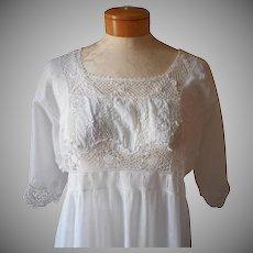 Edwardian Trousseau Nightgown Antique Irish Lace Cotton Lawn Wedding