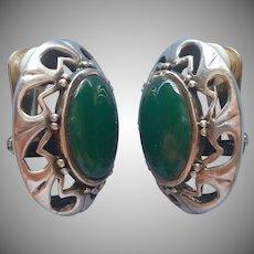 Big Sterling Green Agate Earrings MRF Very Well Made Vintage