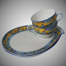 Pair 1920s Czech Tennis Set Cup Plate China Tea Snack Chinoiserie Blue Yellow