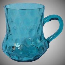 Victorian 1886 Glass Souvenir Cup Reverse Inverted Thumbprint Teal Blue Hattie