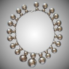 Vintage 1940s Necklace Silver Colored Metal Hollow Half Round Balls