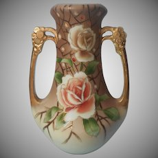 Nippon Vase ca 1920 Handles Hand Painted Roses Antique Brown Gold