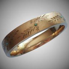 Gold Filled Hinged Wide Bangle Bracelet Turquoise Stones Vintage Eton Brushed