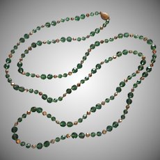 Long Rope Green AB Cut Crystal Beads Necklace Vintage Marvella
