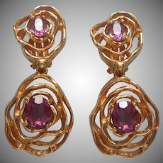 Panetta Modernist Brutalist Drop Earrings Vintage Purple Stones