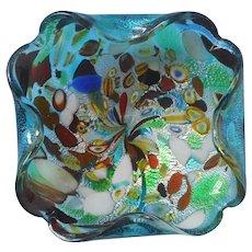 Murano Tutti Frutti Vintage Glass Low Bowl Ashtray Turquoise