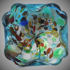 Murano Tutti Frutti Vintage Glass Low Bowl Ashtray Turquoise