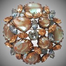 Saphiret Regency Pin Large Vintage Domed Big Stones Signed