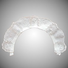 Antique Eyelet Embroidered Lace Cotton Little Collar