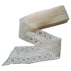 Antique Lace Insertion Trim Yardage Greek Key Like Motif