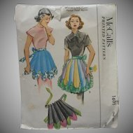 1952 Apron Pattern Sewing Vintage McCalls 1691