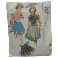 1952 Apron Pattern Sewing Vintage McCalls 1691