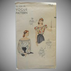 1950 Vogue Off The Shoulder Peasant Blouse Sewing Pattern 16 Bust 34