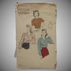 1940s Vogue 9289 Sewing Pattern Tailored Classic Blouse 18 Vintage 36 Bust