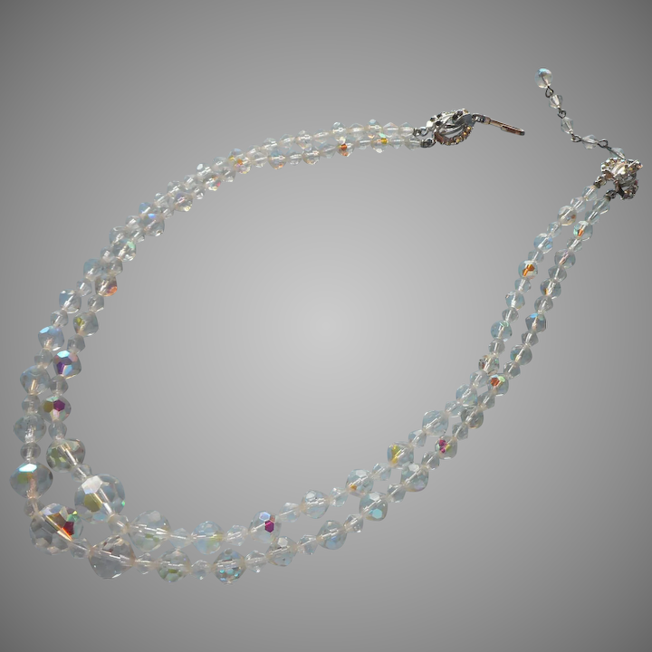 0183ee8c4 Vintage AB Cut Crystal Beads 2 Strand Necklace Clasp Is TLC : Mercy, Maude!  | Ruby Lane