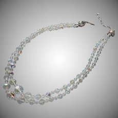 Vintage AB Cut Crystal Beads 2 Strand Necklace Clasp Is TLC