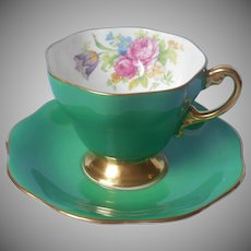 English Bone China Cup Saucer Vintage Foley Solid Green Gold Bouquet