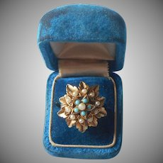Florenza Ring Vintage Adjustable Faux Pearls and Turquoise A Bit TLC