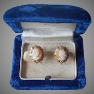 Cameo Earrings Vintage Carved Shell Screw Back Petite Scale
