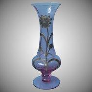 1930s Sterling Silver Overlay European Neodymium Alexandrite Glass Vase Vintage