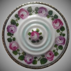 ca 1920 Porcelain Pin Roses Brass Frame Vintage Rosenthal Hand Painted