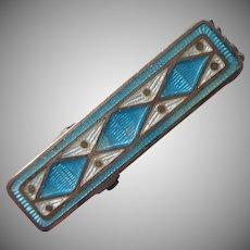 ca 1920 Enamel Clip For Tie or Ladies Shirt Tab Antique Turquoise Blue
