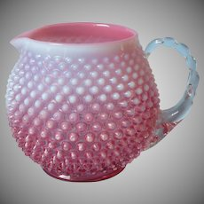 Fenton Cranberry Opalescent Hobnail 3965 Squat Jug Cider Pitcher Vintage Glass