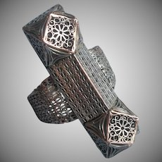 Chinese Export Filigree Vintage Adjustable Ring Silver On Copper