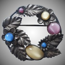 Czech Pin 20s to 30s Glass Moonglow Cabochons Vintage Gunmetal Color Czechoslovakia