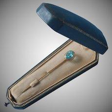 Antique Stick Pin Gold Filled Blue Topaz Colored Glass Stone Stickpin