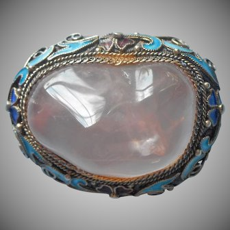Chinese Export Rose Quartz Enamel Pin Vintage Filigree 925