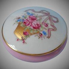 Limoges Castel Trinket Box Vintage Pink Gold Basket Roses Bow