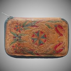 Coin Slot Wallet Vintage Tooled Leather Zipper