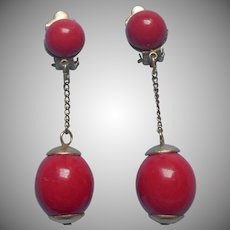 1960s Earrings Red Balls Dangle Chains Hong Kong Clip