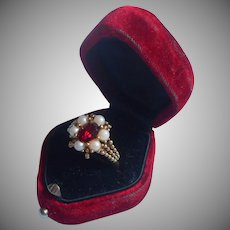 Vintage Avon Ring Red Glass Faux Ruby Pearls Size 7 to 8