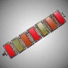 Lucite Moonglow Panel Bracelet Vintage Fruit Colors Wide Links