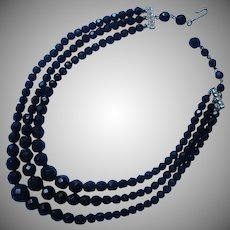 1950s Black Glass Beads 3 Strand Necklace Vintage Laguna