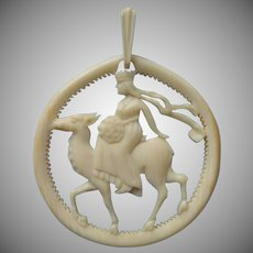 Guinevere Riding A Hart Vintage Carved Bone Pendant 1920s to 1930s