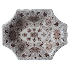 Bow Bells Brown Mason's Vintage Octagonal Sweetmeats Relish Dish
