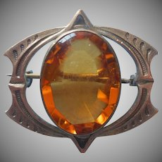 1910s Art and Crafts Pin Brass Glass Amber Color Antique