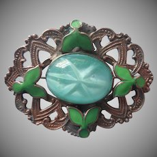 1910s Enamel Glass Brass Pin Antique Green Faux Star Cabochon