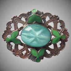 1910s Enamel Glass Brass Pin Antique Green Faux Star Cabochon