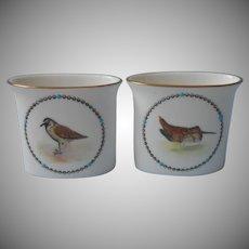 Royal Worcester Bone China Game Birds Cigarette Holder Cups Vases Vintage